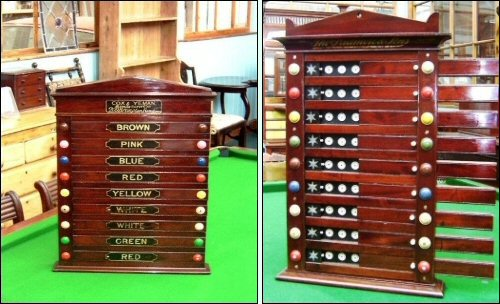 Scoreboards used for the game of Pool: images supplied by, and reproduced with permission of Brown's Antiques.